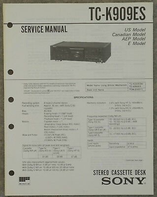 Original Service Manual Sony TC-K909ES   top!