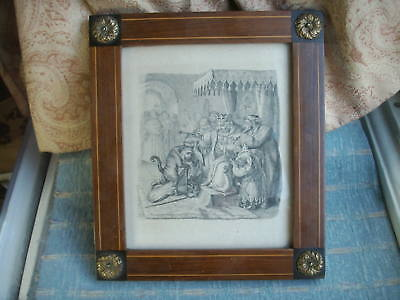 Old Antique German Inlaid Wooden Ormolu Picture Frame Puss in Boots Engraving