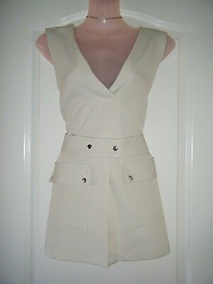 *river Island* Gorgeous Nude Beige Tuxedo Style Belted Long Top Bnwt Holiday
