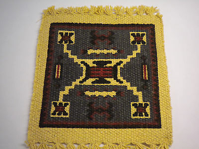Dollhouse Miniature Western Ranch Area Rug-  Large X Design -Blue Background