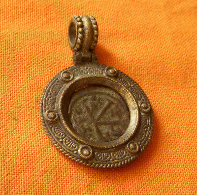 A68. Byzantine style bronze pendant with authentic Byzantine coin