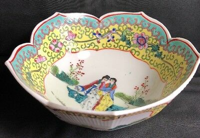 Chinese Handpainted Famille Rose And Geisha Girls Fluted Bowl Marked