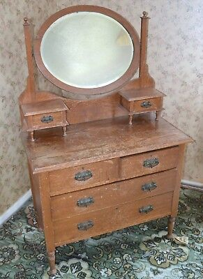 Antique Victorian oak Chest of Drawers/dressing Table with Mirror