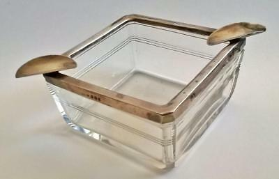 Mould Blown Square Glass Ashtray With Hallmarked Silver Trim And Rests