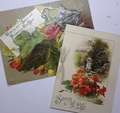 2 victorian antique greeting cards new year song of life 2 victorian antique greeting cards new year song of life nasturtiums orange m4hsunfo