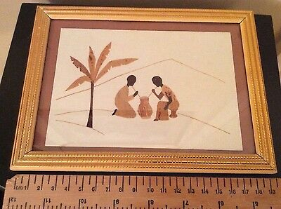 African made card with leaves, ethnic artwork framed