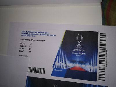 TICKET UEFA biglietto supercoppa trondheim Supercup 2016 Real Madrid - Sevilla