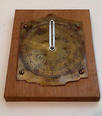 Antique Chatillon's Family Scale New York Brass Scale Part on Wood Base