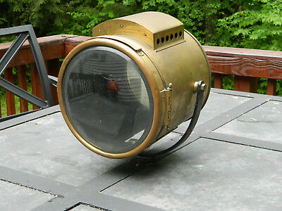 Antique Search Light Gray & Davis Brass Ships Maritme Nautical Spot Light