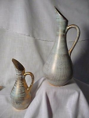 Vintage Stangl Art Pottery Pitchers Antique Gold on Turquoise