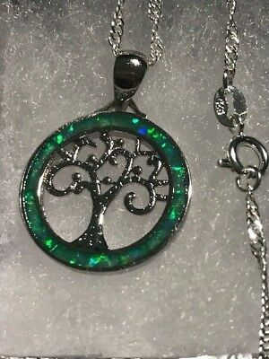 *Tree of Life* Kiwi Green Fire Opal 925 Stamped Silver Pendant Necklace*