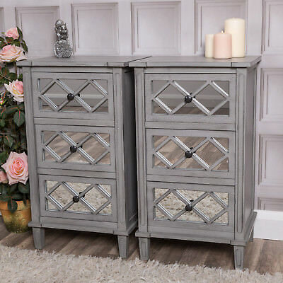 Pair of grey mirrored bedside tables hallway bedroom storage chic cabinet lamp