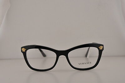 0d0fd143257 Versace VE3224 Eyeglasses Shiny Black w Demo Clear Lens GB1 VE 3224 52mm
