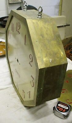 Large  Gents Brass Electric Double Dial Slave Clock Case For Restoration