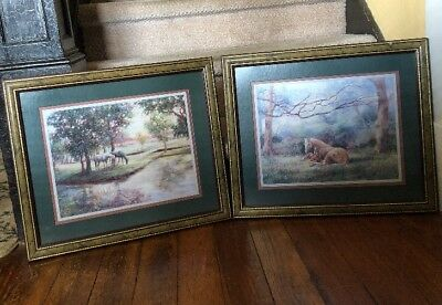 Lot Of 2 Homco Home Interiors Western Print Picture Horses Pasture by Humphrey