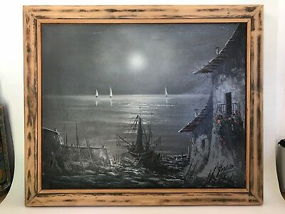 Original large signed signed SEASCAPE oil painting fishing boat in moonlight