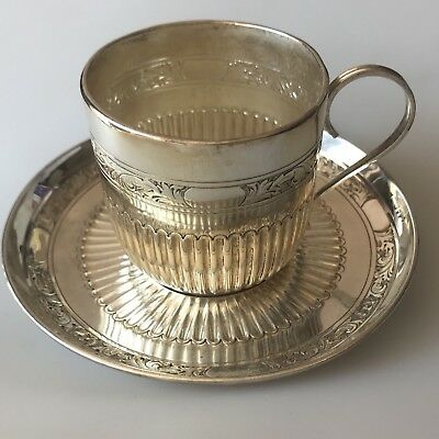 Solid Silver Tea Coffee Cup Saucer 1888 London WILLIAM HUTTON & Sons Edward