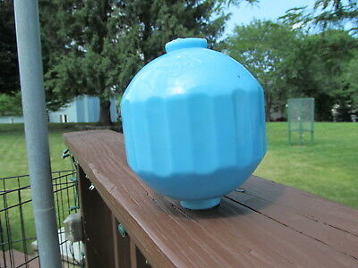 """""""The S Co""""., Blue milk glass lightning rod ball, old and original,"""