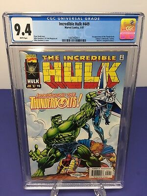 INCREDIBLE HULK #449 (1997) CGC 9.4 WH 1st App of the THUNDERBOLTS not CBCS PGX