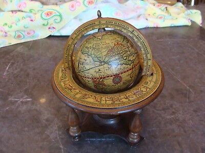Vintage Wood Table Top Zodiac Astrology Old World Globe w/ Stand - Made in Italy