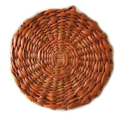 "Wicker Disc. Wall Hanging/Coaster 4"" diameter. Appeared in TraegerMethod video."