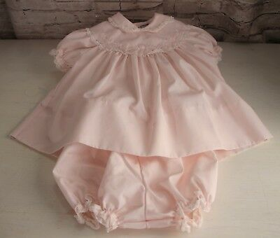 Petit Ami Pink Infant Baby Girls Dress Size Newborn Short Sleeve Collar Lace