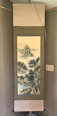 Chinese Asian Scroll Painting on Silk Fabric