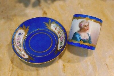 Sevres Elaborate Hand Painted Gold Portrait Demitasse cup and saucer