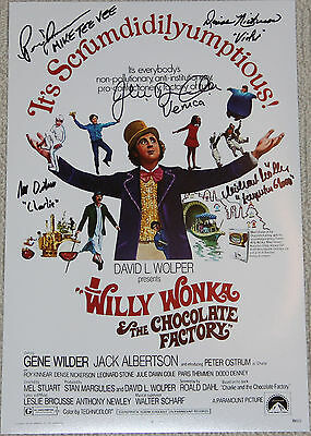 "11"" X 17"" Willy Wonka Poster Autographed  By Five + Bonuses!!"