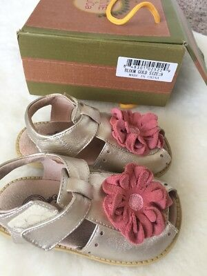 EUC Livie & Luca Girls Sz 9 Gold Bloom Pink Flower Leather Dress Sandals Shoes