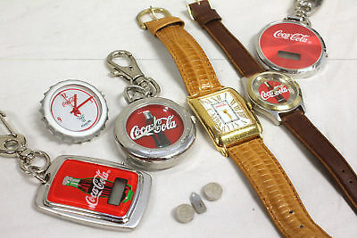 Assorted Mixed Lot of 6 Coca-Cola Time Pieces, 2 Watches, 3 Clip on Pieces, Pin.