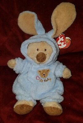 Ty Beanie Babies 2004 LOVE TO BABY Bear in Blue Removable Bunny Pajamas MWMT