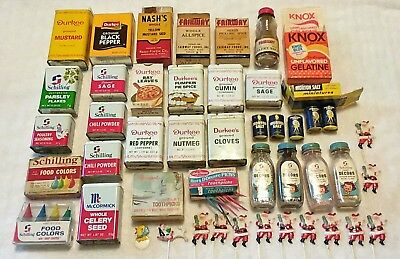 30 pc. lot of vintage kitchen spices,misc. Nash, Fairway,  Durkee, Schilling.Old