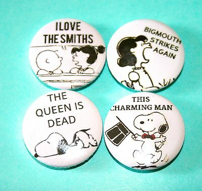 Set Of Four Lucy Snoopy Peanuts The Smiths Inspired Pin Badges