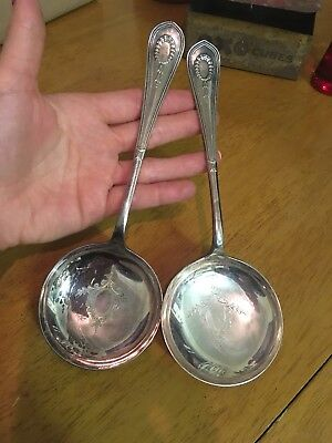 Good Antique Sterling Silver Soup/serving Spoons. Hallmarked