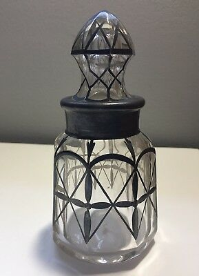 Antique Octagonal Glass Vanity Or Perfume Bottle With Sterling Silver Overlay