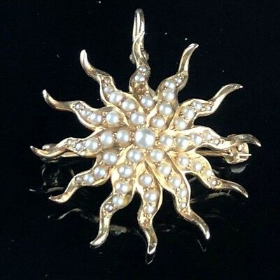 Vintage 14K Gold and Seed Pearl Sunburst Pin / Pendant from Hammerman Brothers