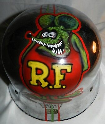 """Vintage Helmet with the image of """"Big Daddy"""" Ed Roth's Rat Fink painted on it"""