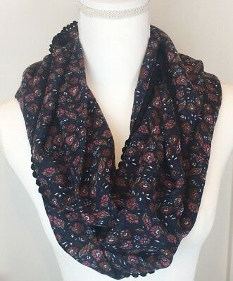 Massini Infinity Scarf Navy Pink Floral Crochet Tim