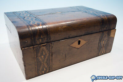 Vintage Antique Marquetry Stressed Wooden Box