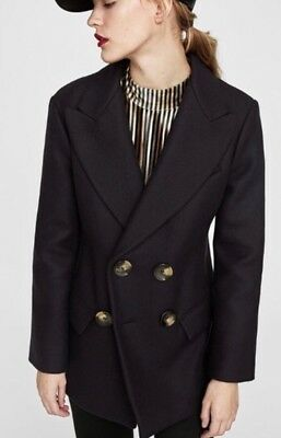 Zara Women's Blue Short Double Breasted Coat SIZE SMALL BRAND NEW RRP £99