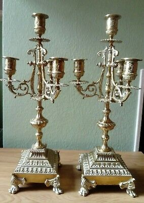 Vintage / Antique Quality Pair Of Good Cast Brass Three Branch Candlesticks, Vgc