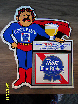 Pabst Blue Ribbon Cool Blue Man Decal/sticker......unused    P-645