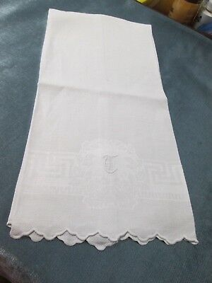 Antique Nubby Linen Towel T Monogram Rosebud Wreath Greek Key Scalloped Edges
