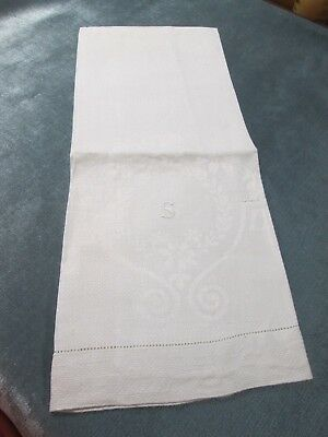 Antique Nubby Linen Towel S Monogram Laurel Wreath Daisy Garlands Hemstitched