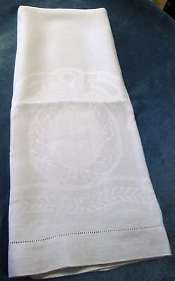 Large & Lovely Nubby Linen Bath Towel Large Wreath Bow & Ribbon Elegant!