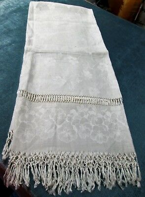 Antique Linen Damask Fringed Show Towel Pansy Florals Ornate Ladderwork Insets