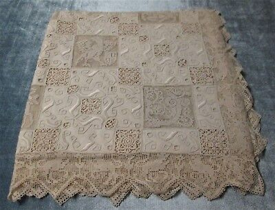 SPECTACULAR Ecru Linen Tablecloth Figural Net Lace Embroidery Cutwork Never Used