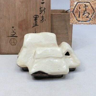 D740: Japanese KYOTO pottery incense burner of snow covered old house by Rokubei
