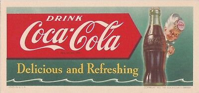 "DRINK COCA-COLA ""delicious & refreshing"" 1951 COCA-COLA  illustrated INK blotter"